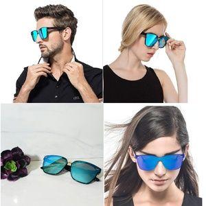 Accessories - Blue Rimless Mirror Sunglasses